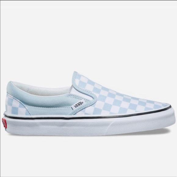 Vans Checkerboard Baby Blue Slip Ons
